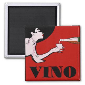 VINO- Vintage Lady Wine Poster Magnet