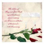 Vino y aniversario color de rosa comunicado personalizado