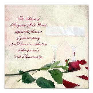 Vino y aniversario color de rosa invitación 13,3 cm x 13,3cm