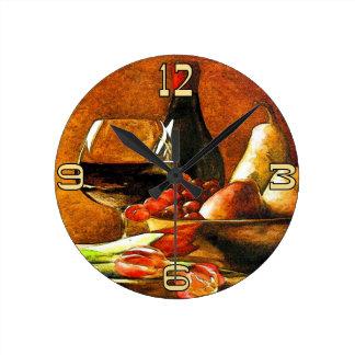 Vino y fruta reloj redondo mediano