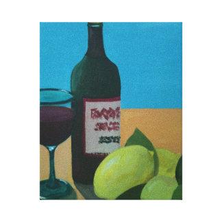 Vino y limones impresión en lienzo