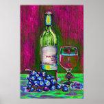 Vino y poster modernos del arte de las uvas