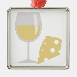 Vino y queso adorno navideño cuadrado de metal
