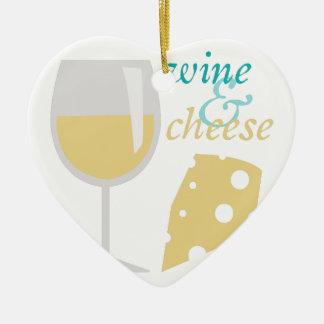 Vino y queso adorno navideño de cerámica en forma de corazón
