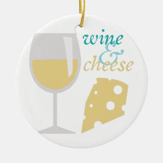 Vino y queso adorno navideño redondo de cerámica