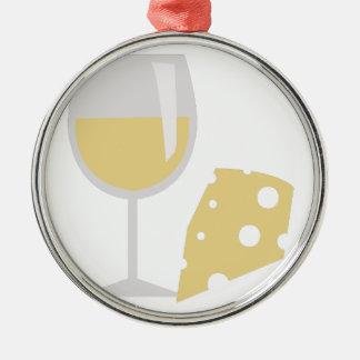 Vino y queso adorno navideño redondo de metal