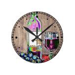Vino y reloj impresionistas del arte de las uvas