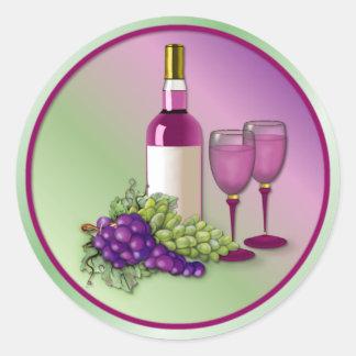 Vino y tostada de las uvas pegatina redonda