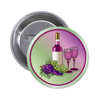 Vino y tostada de las uvas pin redondo de 2 pulgadas