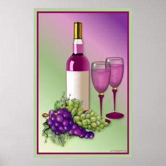 Vino y tostada de las uvas póster