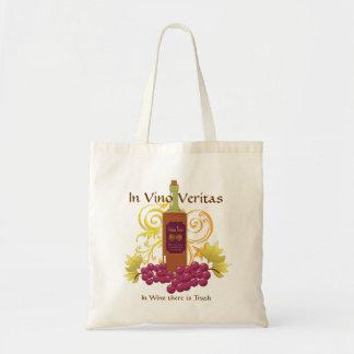 Vino y uvas bolsas lienzo