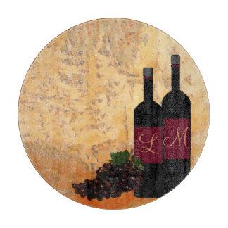 Vino y uvas cones monograma tablas de cortar
