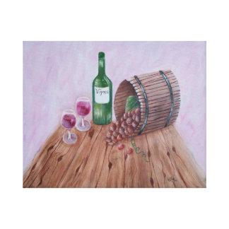 Vino y uvas impresión en lienzo