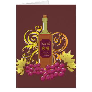 Vino y uvas Notecard en blanco Tarjetas