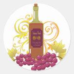 Vino y uvas pegatina redonda
