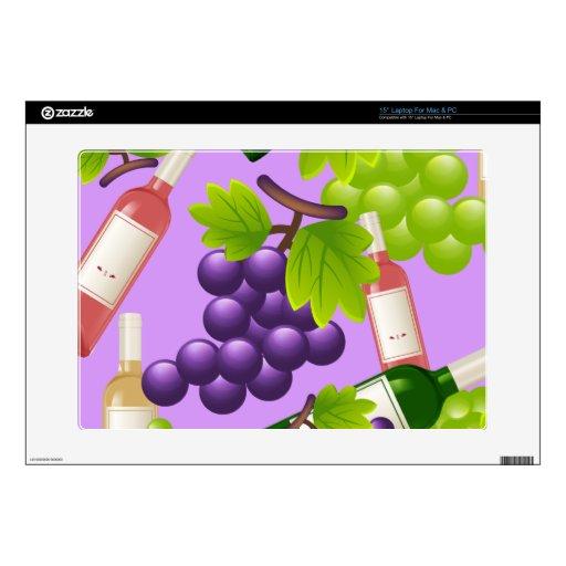 Vino y uvas skins para 38,1cm portátil