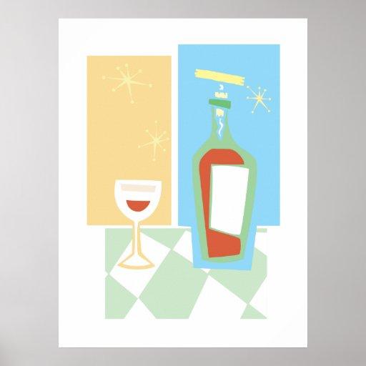 Vino y vidrio retros #1 póster