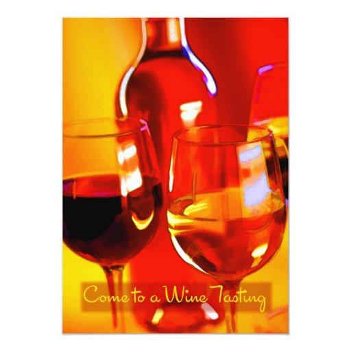 Vino y vidrios abstractos de la prueba roja y invitación 12,7 x 17,8 cm