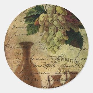 Vins Spiritueux, néctar de dioses Pegatina Redonda