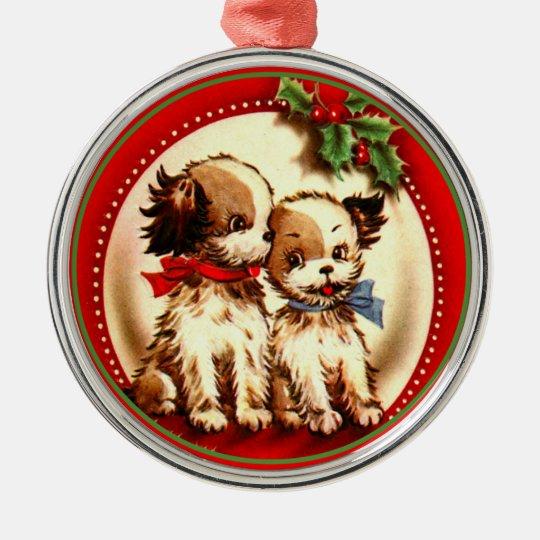 Vintae Christmas Cute Spaniel Pups Red & Green Metal Ornament