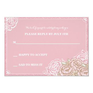 Vintag Cabbage Roses Reply Card Announcements