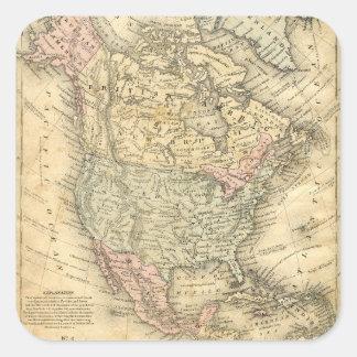 Vintag Map Print of North America Square Sticker