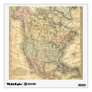Vintag Map Print of North America Wall Sticker