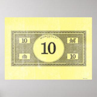 Vintage 10 Dollar Bill Poster