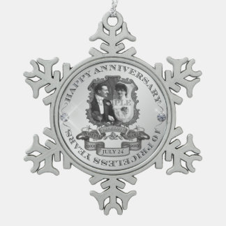 Vintage 10th Anniversary Snowflake Pewter Christmas Ornament