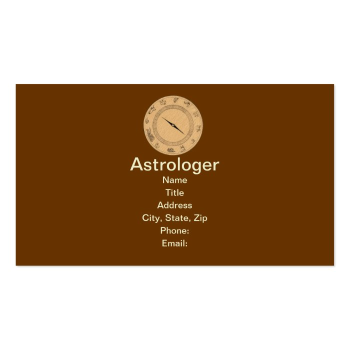 Vintage 12 Signs of the Zodiac Business Card