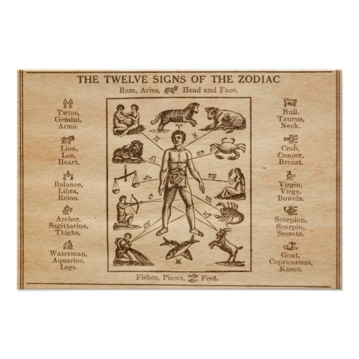 Vintage 12 Signs of the Zodiac Poster