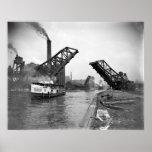 Vintage 12th St. Bascule Bridge, Chicago, Illinois Print