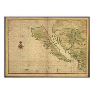 Vintage 1650's California Map - shown as an island Poster