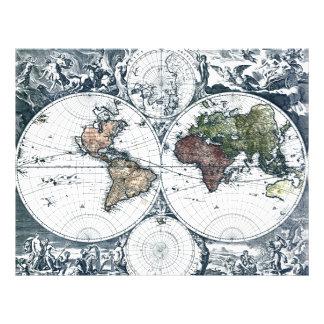Vintage 1658 Nicolao Visscher World Map Flyer