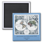Vintage 1658 Nicolao Visscher World Map Fridge Magnets