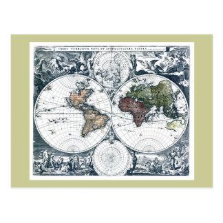 Vintage 1658 Nicolao Visscher World Map Postcard