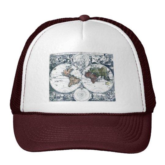 Vintage 1658 Nicolao Visscher World Map Trucker Hat