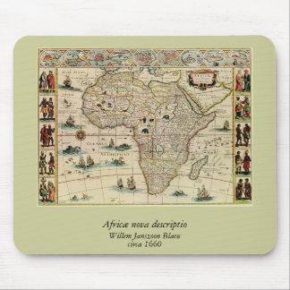 Vintage 1660 s Africa Map by Willem Janszoon Blaeu Mousepad