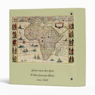 Vintage 1660's Africa Map by Willem Janszoon Blaeu 3 Ring Binder