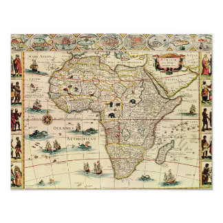 Vintage 1660's Africa Map by Willem Janszoon Blaeu Card