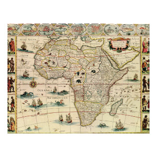 Vintage 1660's Africa Map by Willem Janszoon Blaeu Full Color Flyer