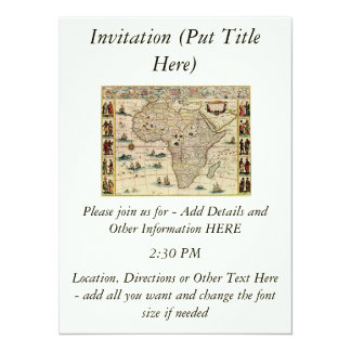 Vintage 1660's Africa Map by Willem Janszoon Blaeu Personalized Invite