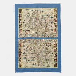 Vintage 1660's Africa Map by Willem Janszoon Blaeu Kitchen Towel
