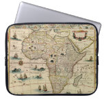 Vintage 1660's Africa Map by Willem Janszoon Blaeu Computer Sleeves