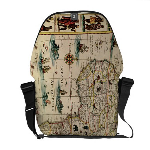 Vintage 1660's Africa Map by Willem Janszoon Blaeu Messenger Bags