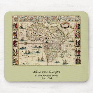 Vintage 1660's Africa Map by Willem Janszoon Blaeu Mouse Pad