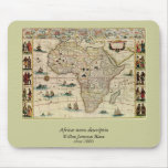 Vintage 1660's Africa Map by Willem Janszoon Blaeu Mousepad