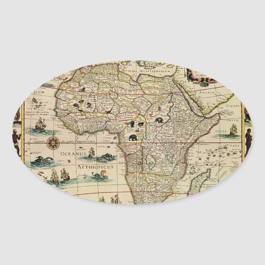 Vintage 1660's Africa Map by Willem Janszoon Blaeu Oval Sticker
