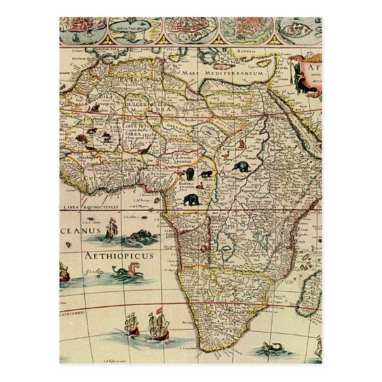 Vintage 1660's Africa Map by Willem Janszoon Blaeu Postcard