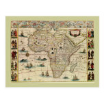 Vintage 1660's Africa Map by Willem Janszoon Blaeu Post Cards